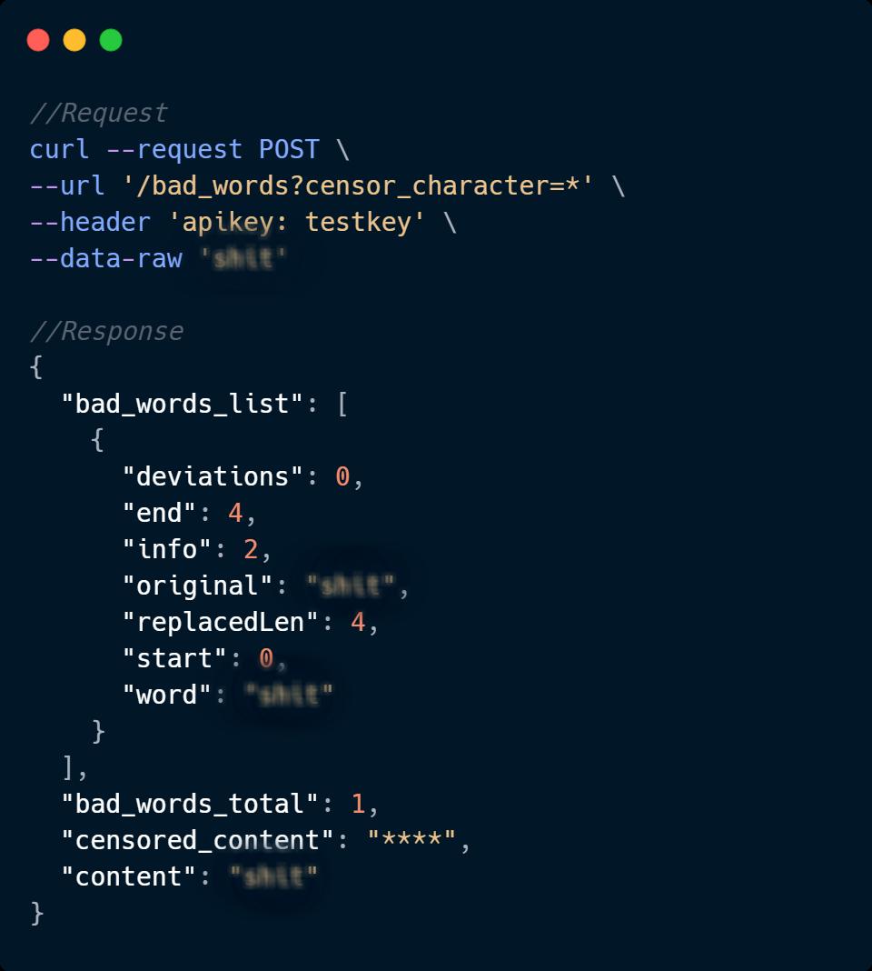Bad words API code sample