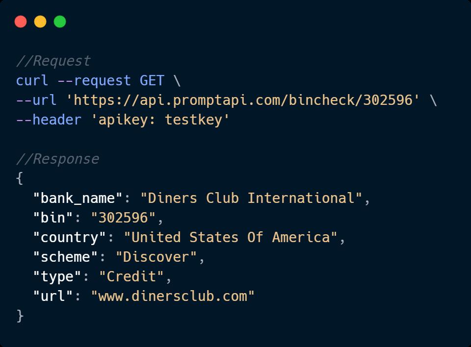 BIN Checker API Code Sample