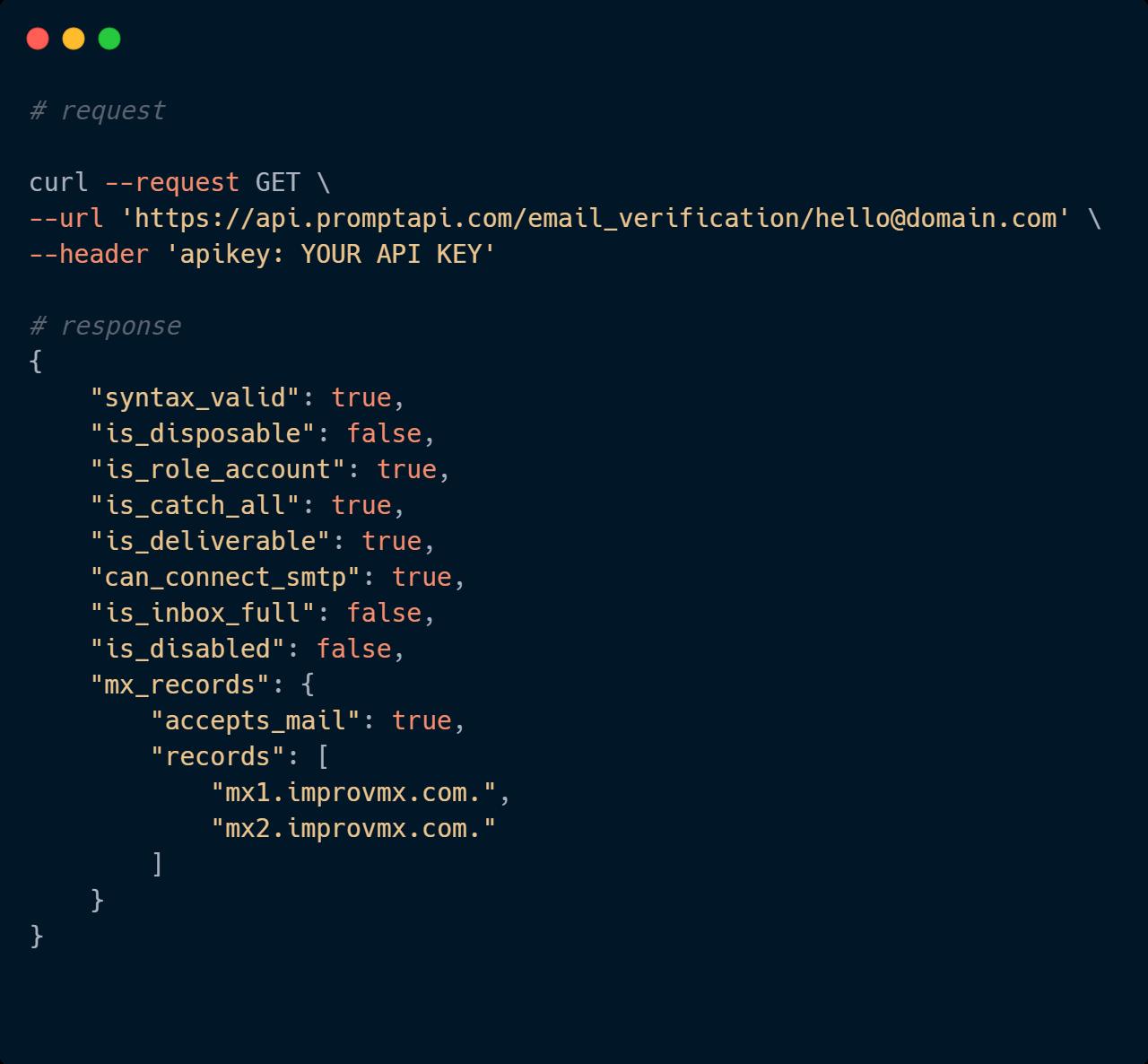 Email verification API Code Sample