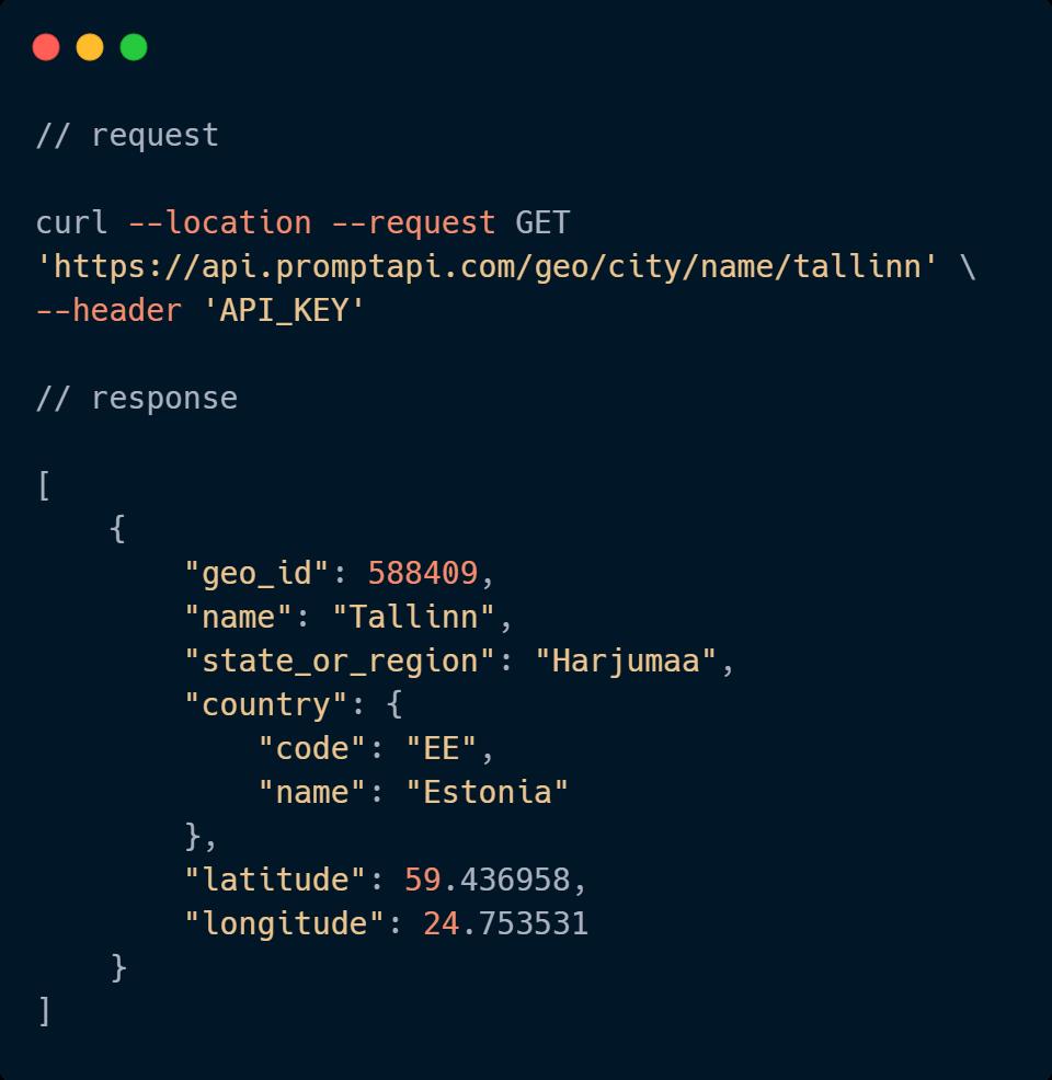 Geography API Code Sample