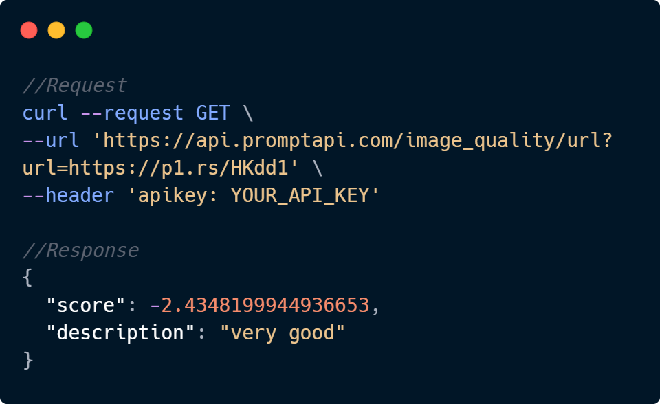 Image Quality Assessment API Code Sample