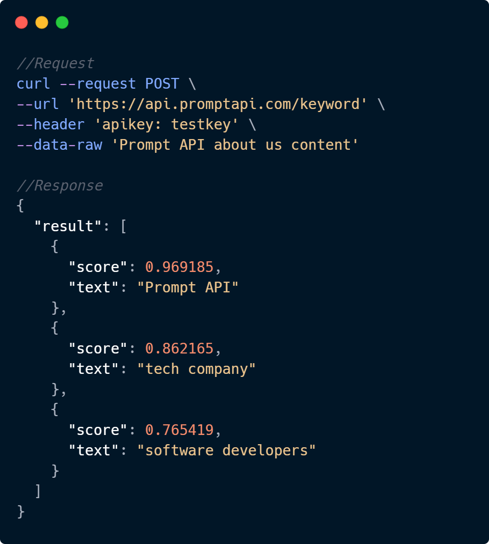 Keyword Extraction API Code Sample