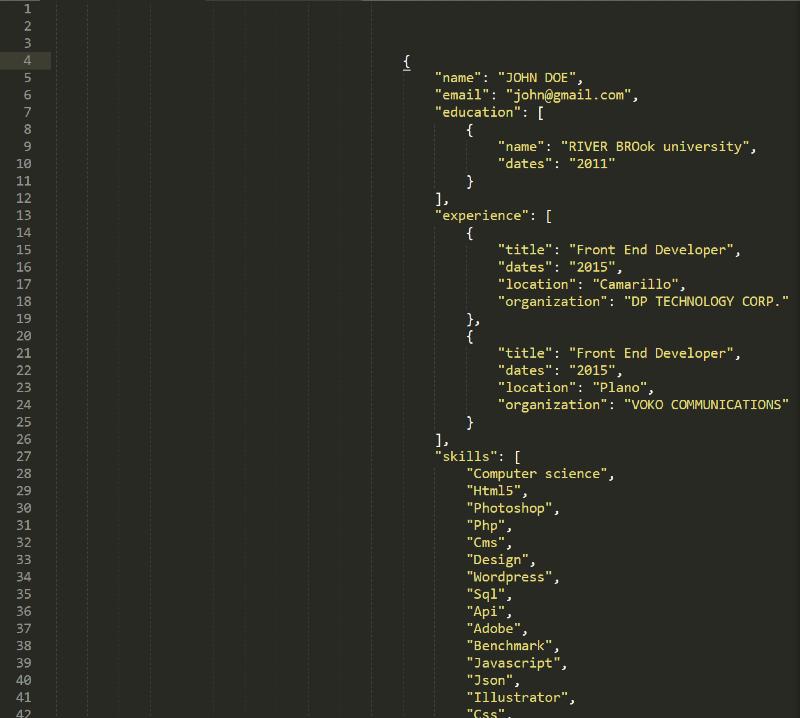 Resume in JSON format