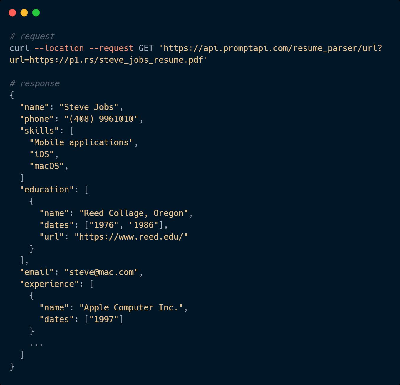 Resume Parser Code Sample