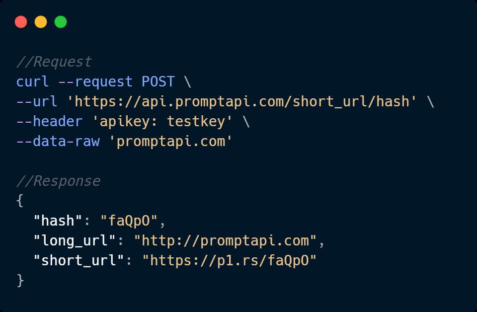 URL Shortener API Code Sample