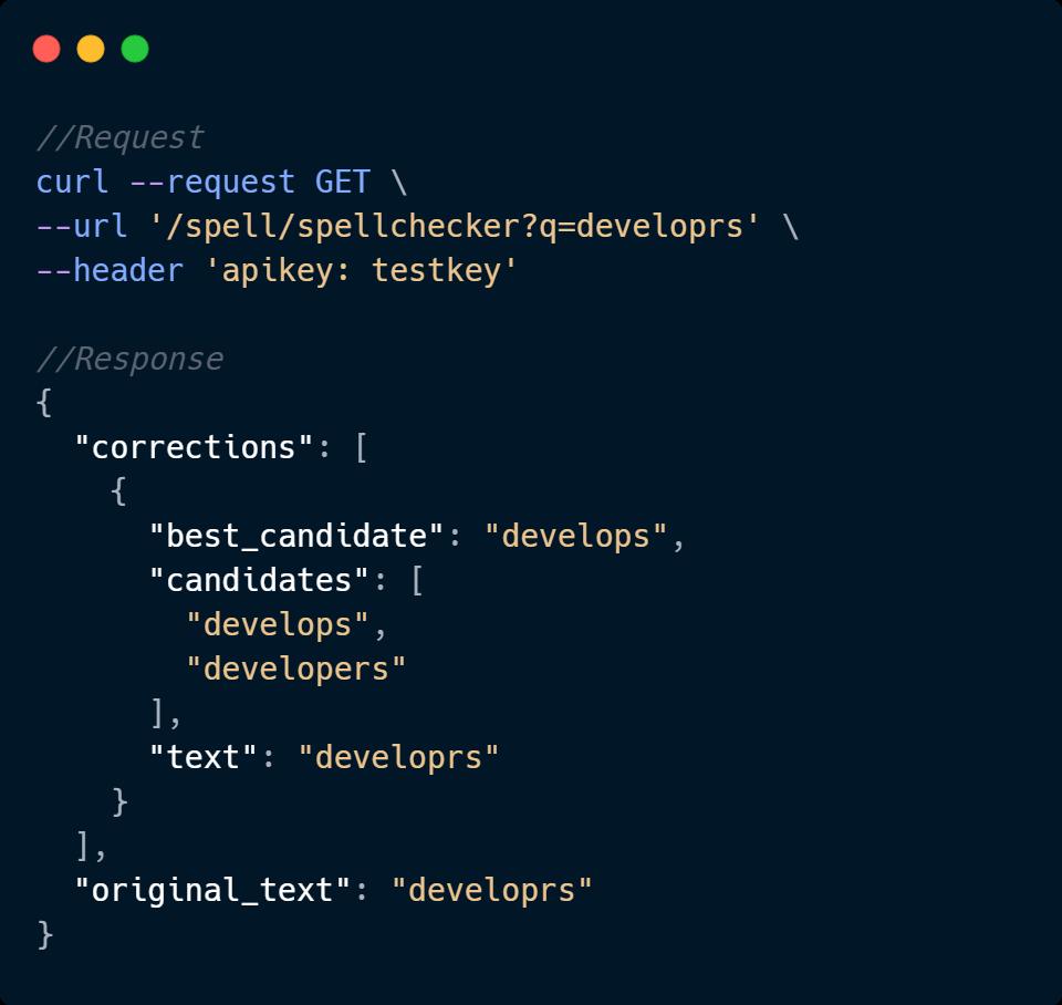 Spell Checker API Code Sample