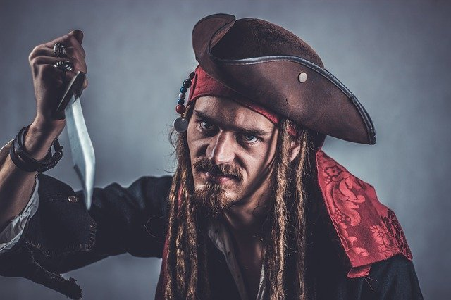Pirate holding a knife