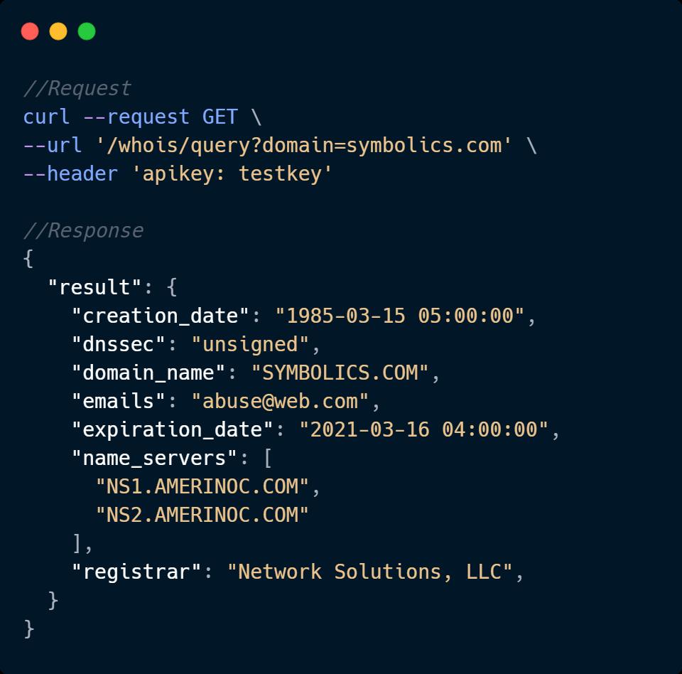 Whois API Code Sample