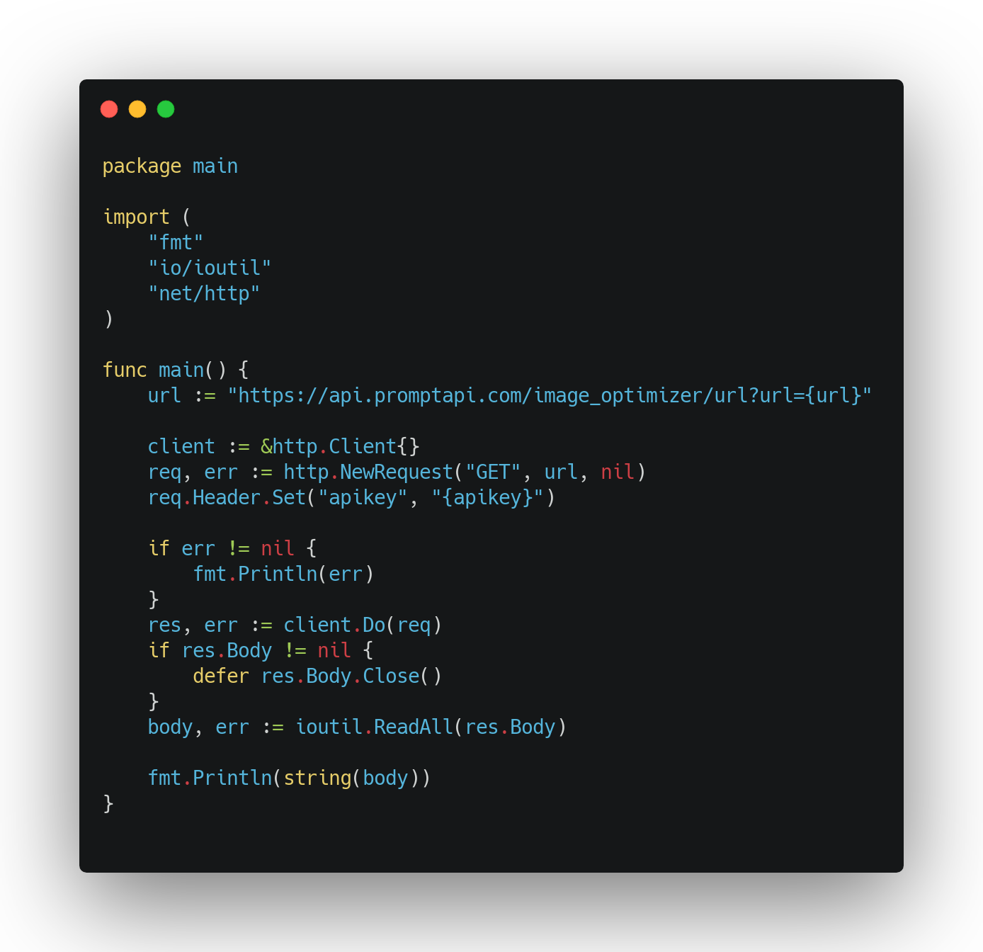 A code sample from an API Marketplace