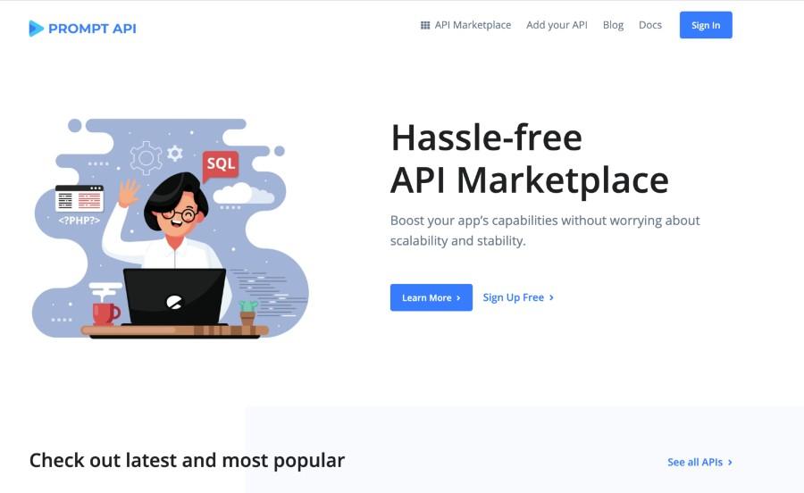 promptapi.com api marketplace homepage