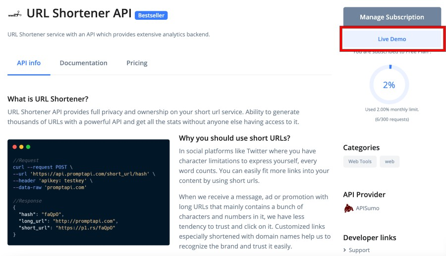 how to use prompt api url shortener api - 1