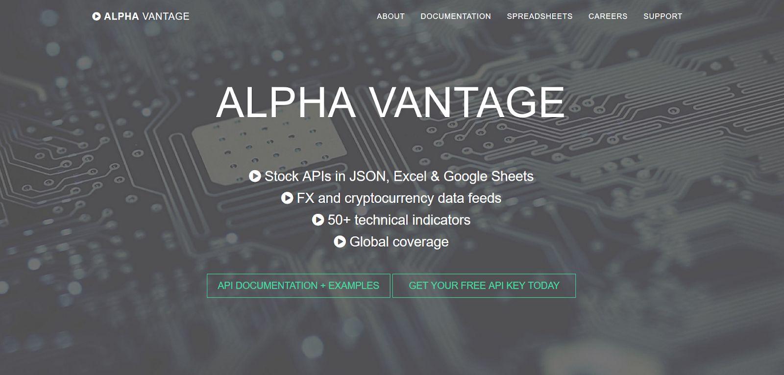 Alpha Vantage Homepage