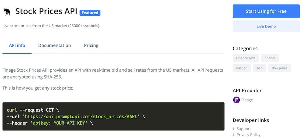 Finage on Prompt API