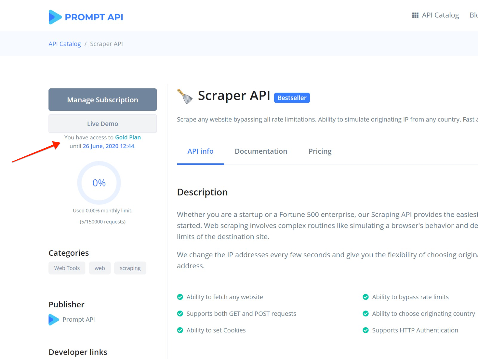 API Detail Page (subscription canceled)