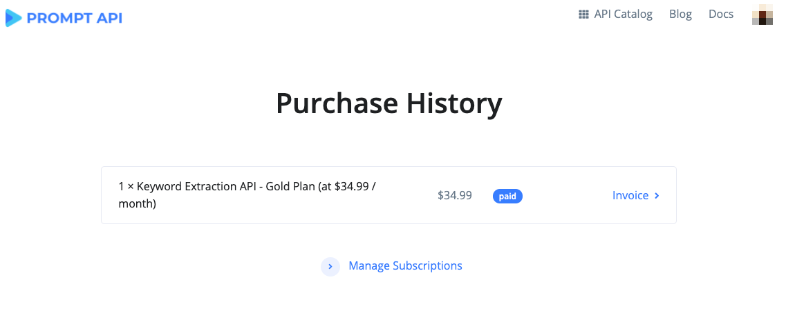 Purchase History Page
