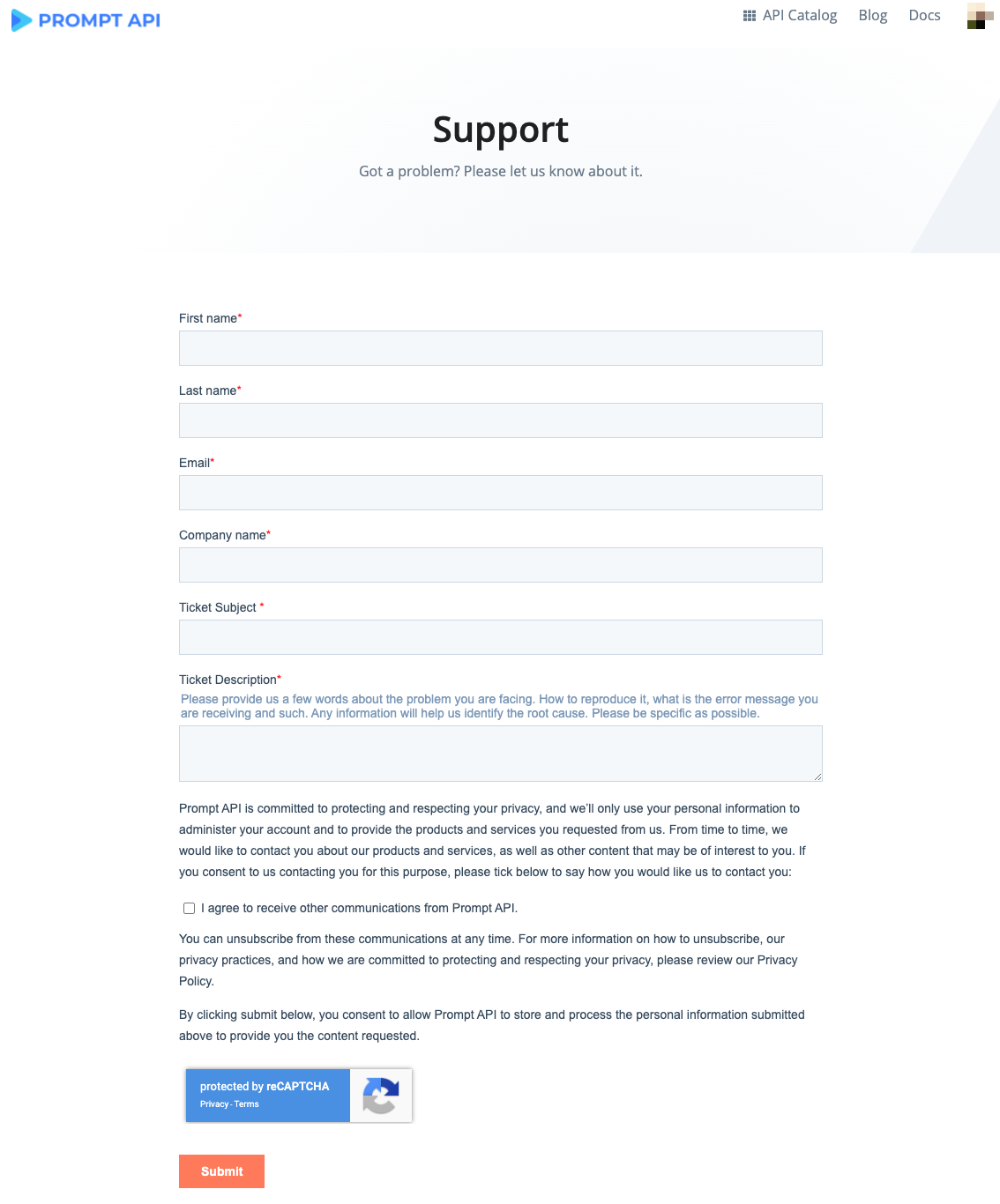 Support Page